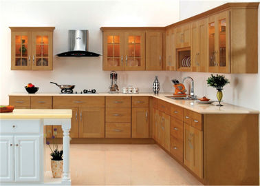 China Marble stone Countertop Solid Wood Kitchen Furniture , White Closeout Kitchen Cabinets supplier