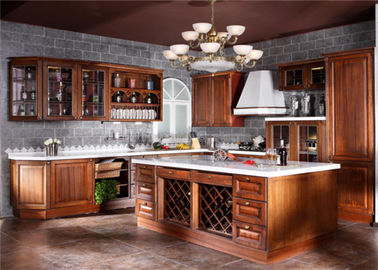 China Contemporary L Shaped Kitchen Cabinets With Glass Door And Red Paint Island supplier