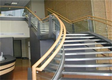 China Prefab Apartment Building Curved Stairs Clear Finish , Arc Shaped supplier