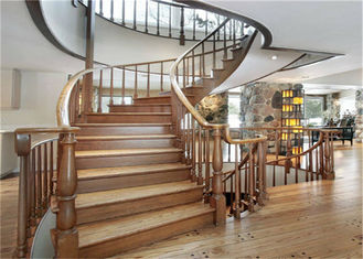 China Elegant 38mm Open Wood Stairs , Glass Railing Curved Wooden Staircase No Slip supplier