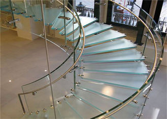 China Wood Glass Tread Stainless Steel Curved Stair Circular Staircases supplier