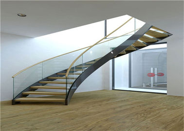 China Cable Balustrade Building Curved Stairs , Interior Wood Stairs Building Project Design supplier