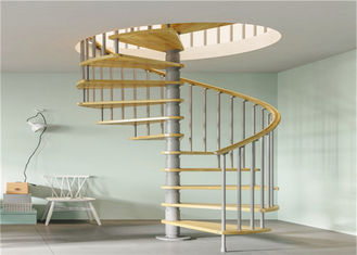 China Anti Rust Prefab Custom Spiral Staircase With Stainless Steel Post Glass Railing supplier
