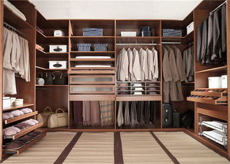 China Knock Down Walk In Closet Wardrobe Dark Style With Kick Board , Flat Packing supplier