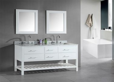 China Shaker Style Double Sink Bathroom Vanities And Cabinets Waterproof Board supplier