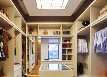 China U Shaped Closet Organizers With Soft Close Drawers , modern walk in wardrobe shoe storage supplier