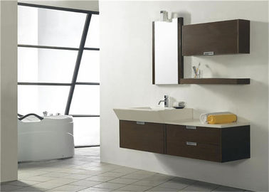China Modern Style Custom Bathroom Vanity Cabinets Lacquer Surface With Quartz Countertop supplier
