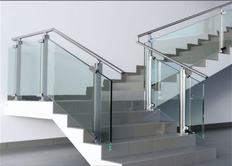 China Modern Hotel Glass And Steel Staircase Railing With Clear / Brown / Grey Color supplier