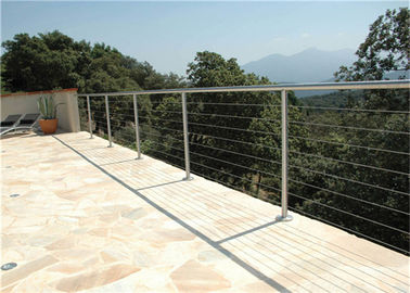 China Outdoor Top Mount Building Railing 6mm Stainless Steel Wire Handrail Systems supplier
