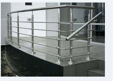 China Curved Rod Stainless Steel Railing , Top Mount Stainless Steel Stair Banisters supplier