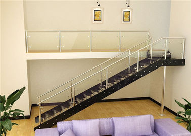 China Laminated Tempered Glass Straight Flight Staircase Ss Double Beams Suppport supplier