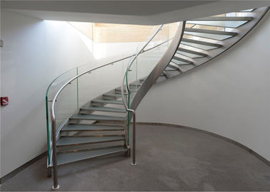 China White Marble Tread Curved Exterior Stairs , Modern Marble Stairs No Fixed Central Column supplier
