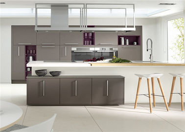 China MDF Kitchen Customized Cabinets With White Quartz Countertop supplier