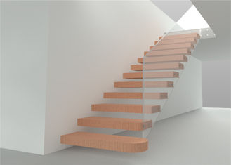 China DIY Prefabricated Steel Stringer Floating Steps Staircase With Wood Tread supplier