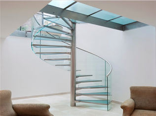 China Modern Frameless Glass Spiral Staircase , Residential Decorative Spiral Staircase supplier