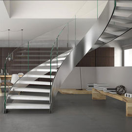 China Stainless Steel Curved Wooden Staircase , Interior Wood Stairs Customized Floor Height supplier