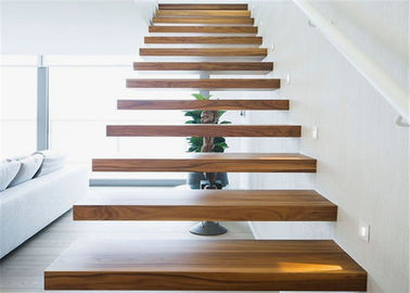 China Interior Loft Oak Wooden Building Floating Stairs Hot Dip Galvanized Finish supplier