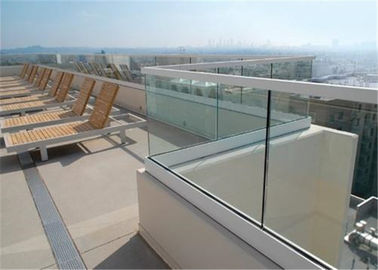 China Glass Terrace Building Railing Commercial Glass Balustrade Aluminum U Channel Handrail Flooring Mounted supplier