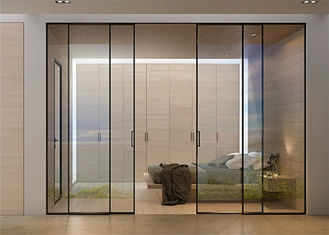 China Clear Glass Commercial Aluminium Doors Horizontal Sliding Opening Direction supplier