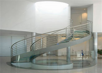 China Double U Channel Stringer Modern Spiral Staircase , Curved Wooden Staircase With Glass Railings supplier