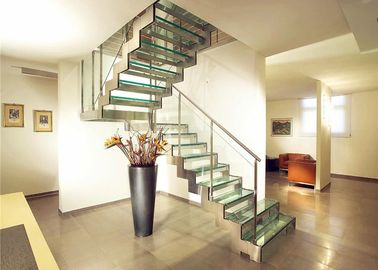 China Indoor Design Stairs Glass Straight Flight Staircase Multi Treads Customizable supplier
