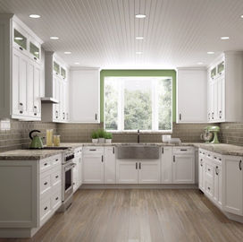 China Paint Door Finish Solid Wood Kitchen Cabinets Solid Wood Material Blum / Dtc Hardware supplier