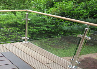 China Durable Glass Balustrade Stainless Steel Handrails , Tempered Glass Railing Systems supplier