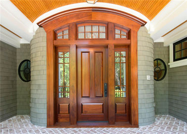 China Double Leafs Israel Solid Wood Exterior Front Doors Tempered Glass For Villas Teak Color supplier