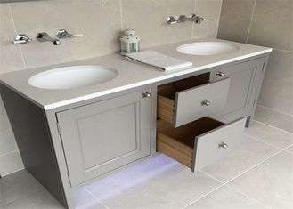 China Custom Bathroom Vanity Cabinets Paint Surface Granite Countertop Including Basin Faucet supplier