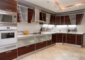 China High Gloss Lacquer MDF Kitchen Cabinets Blum / Dtc Hardware With Countertop Sink / Faucet supplier