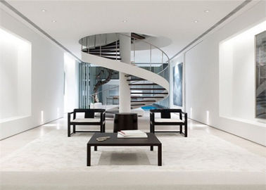 China White Stainless Steel Spiral Staircase , Strong Spiral Stairs For Small Spaces supplier