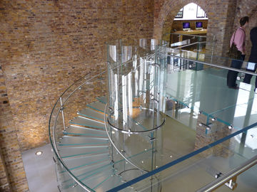 China Laminated Tread Glass Building Curved Stairs Steel Wood For Shopping Mall supplier