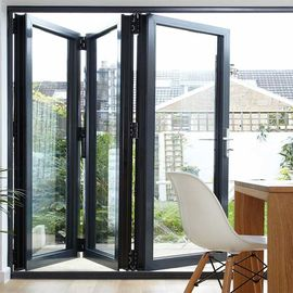 China Folding Bifold Commercial Aluminium Doors Tempered Glass Inward / Outward Opening supplier