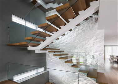 China Contemporary Straight Flight Staircase Glass Railing Straight Flight Wooden Timber supplier