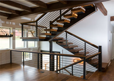 China Cable Railing Steel Stringer Wood And Glass Staircase 3 Flights Straight DIY Installation supplier