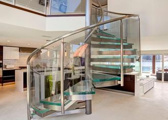 China Tempered Glass Space Saving Spiral Staircase , Decorative Loft Spiral Staircase supplier