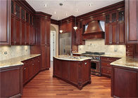 China Red / Black Solid Wood Kitchen Cabinets With American Standard Sink And Faucet factory