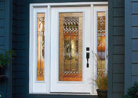 China Unique Solid Wood Front Doors Villa Europe Style Single Glazed / Double Glazed Glass factory