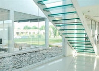 Indoor Flight Modern Straight Staircase Commercial Staircase Laminated Glass Treads Easy Assemblying