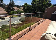 Commercial Frameless Glass Deck Railing Systems Stainless Steel Round Post