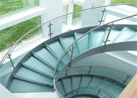 China 316s.s indoor curved glass staricase with tempered glass railing top handrail company