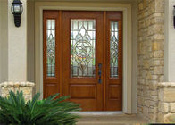 China Exterior Solid Wood Door Front Entry Inswing / Outswing Opening With Sidelites Open Door factory