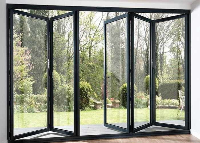 Modern Aluminium Frame Accordion Sliding Glass Doors With Anodizing