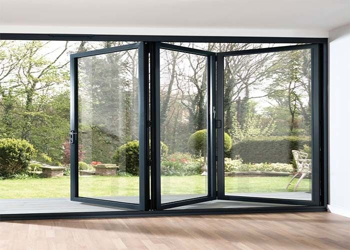 Waterproof Aluminum Frame Folding Glass Patio Doors , Aluminium Framed  Frosted Glass Doors