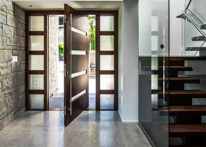 5mm Tempered Glass Solid Wood Doors Front Pivot Doors Protects Against  Insects