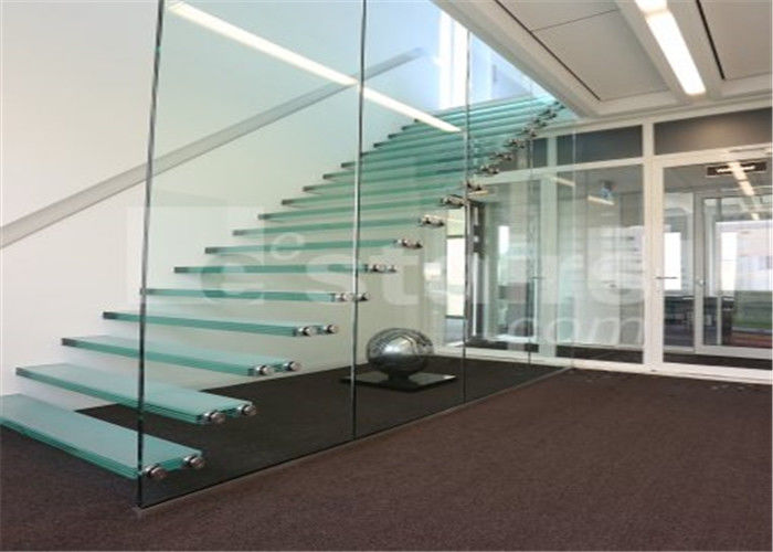 Prefabricated Straight Floating Steps Staircase With Glass Steps And Glass  Railing