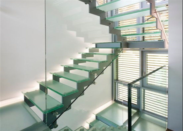 Anti Slip Straight Flight Staircase Clear Glass Tread Stairs With Led Light
