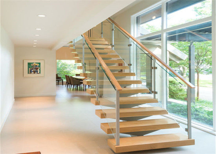 Safety Internal Modern Straight Staircase , Wood And Glass Staircase Designs