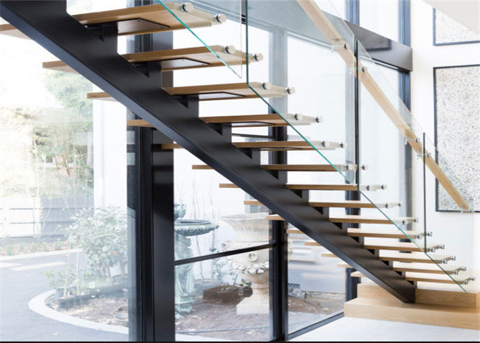 Mono Stringer Contemporary Glass Staircase Steel And Wood