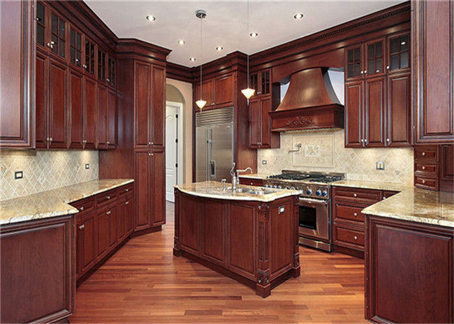 Red / Black Solid Wood Kitchen Cabinets With American Standard Sink And Faucet